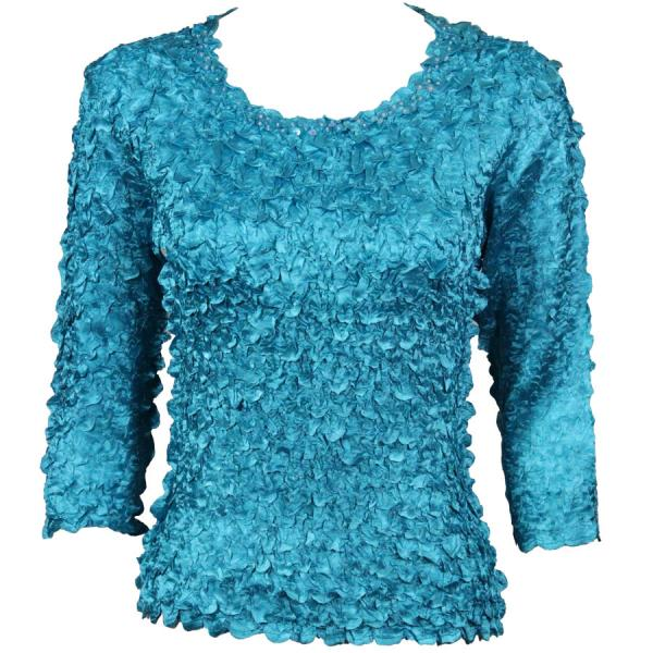 wholesale Satin Petal Shirts - 3/4 Sleeve w/ Sequins Teal MB - One Size (S-XL)