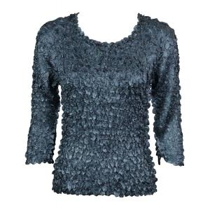 Wholesale  Charcoal Satin Petal Shirt - 3/4 Sleeve w/ Sequins - One Size (S-XL)
