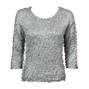 wholesale Satin Petal Shirts - 3/4 Sleeve w/ Sequins Silver - One Size (S-XL)
