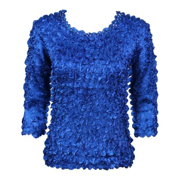 wholesale Satin Petal Shirts - 3/4 Sleeve w/ Sequins Royal  - One Size (S-XL)