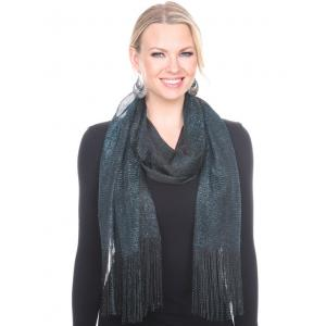 wholesale Oblong Scarves - Millionaire Metallic 147 Black-Turquoise -