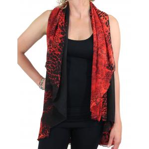 Chiffon Scarf Vest/Cape (Style 1) #0011 Leopard - Red (MB) - One Size
