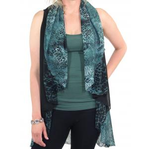 wholesale Chiffon Scarf Vest/Cape (Style 1) #0011 Leopard - Teal (MB) - One Size