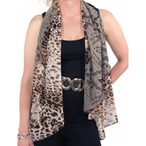 Chiffon Scarf Vest/Cape (Style 1) #0018 Leopard & Lace - Brown - One Size