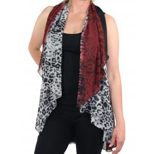 wholesale Chiffon Scarf Vest/Cape (Style 1) #0018 Leopard & Lace - Red - One Size