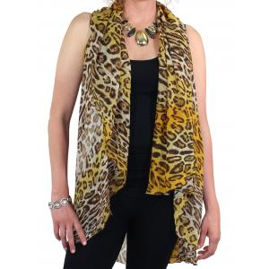 Chiffon Scarf Vest/Cape (Style 1) #0022 Multi Cheetah - Gold * - One Size