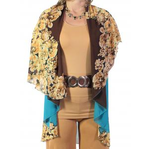 wholesale Chiffon Scarf Vest/Cape (Style 1) #0230 Brown-Turquoise  - One Size