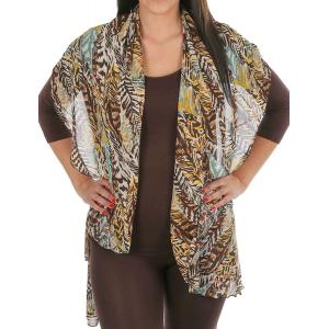Chiffon Scarf Vest/Cape (Style 1) #0078 Brown - One Size