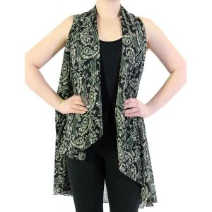 Chiffon Scarf Vest/Cape (Style 1) #8611 Green - One Size