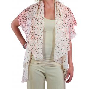 wholesale Chiffon Scarf Vest/Cape (Style 1) #0401 Polka Dot - White-Red*  - One Size