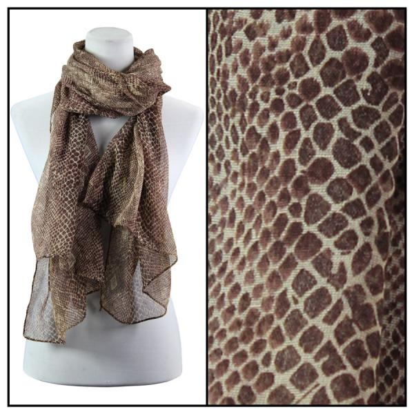 wholesale Oblong Scarves - Snake Skin 4117* Brown -