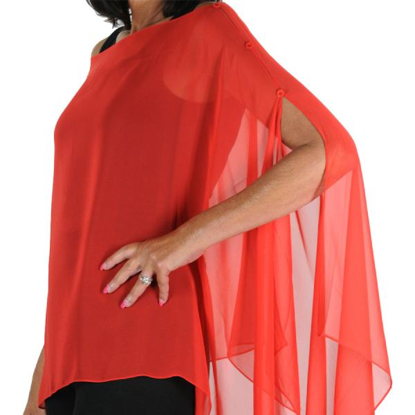 wholesale Silky Button Poncho/Cape (Six Button Chiffon) Solid Red -