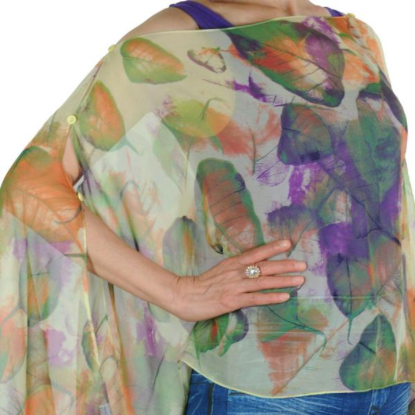 wholesale Silky Button Poncho/Cape (Six Button Chiffon) #129 Green (Leaves) -