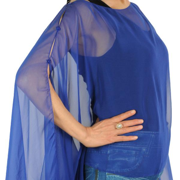 wholesale Silky Button Poncho/Cape (Six Button Chiffon) Solid Royal -