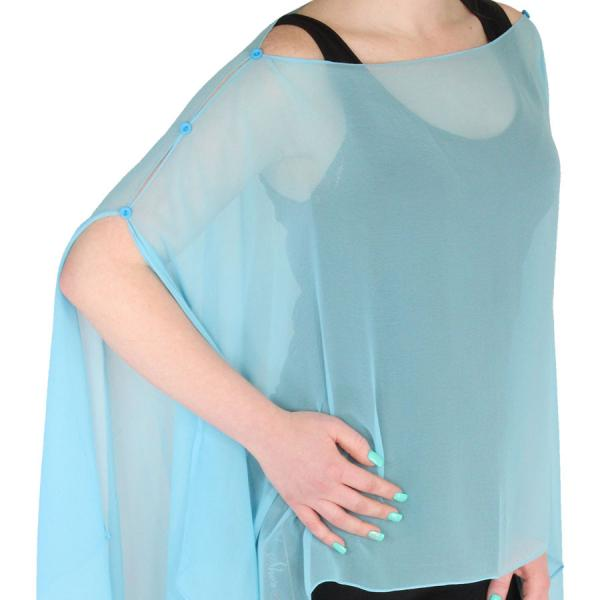 wholesale Silky Button Poncho/Cape (Six Button Chiffon) Solid Sky Blue (MB) -