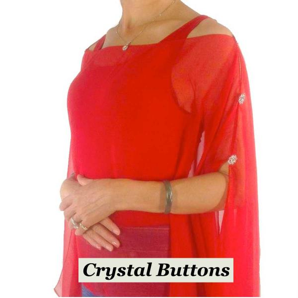 wholesale Silky Button Poncho/Cape (Six Button Chiffon) Crystal Buttons Solid Red  -