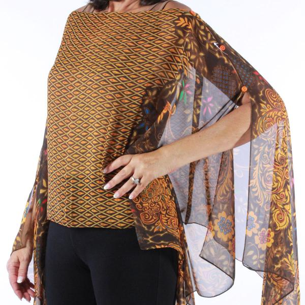 wholesale Silky Button Poncho/Cape (Six Button Chiffon) #506 Brown (Peacock Abstract) MB -