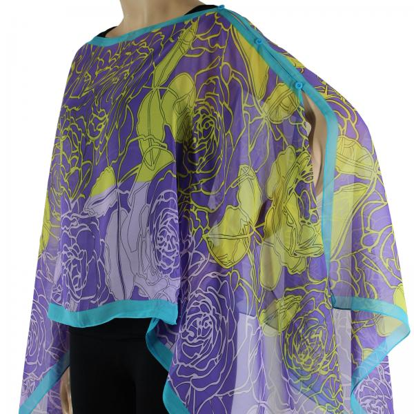 wholesale Silky Button Poncho/Cape (Six Button Chiffon) #010 Purple-Teal -