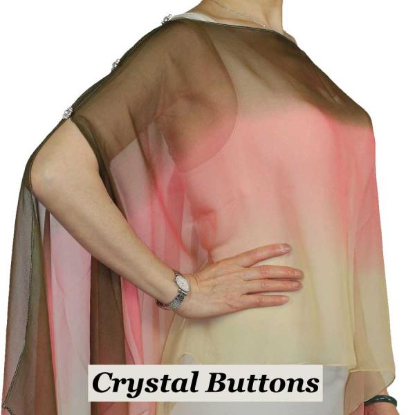 wholesale Silky Button Poncho/Cape (Six Button Chiffon) Crystal Buttons #106 Brown-Coral-Tan (Tri-Color)  -