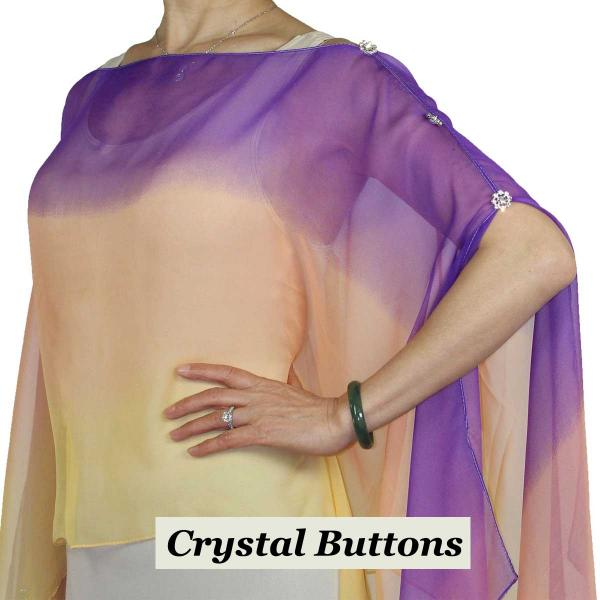 wholesale Silky Button Poncho/Cape (Six Button Chiffon) Crystal Buttons #106 Purple-Peach-Gold (Tri-Color)  -