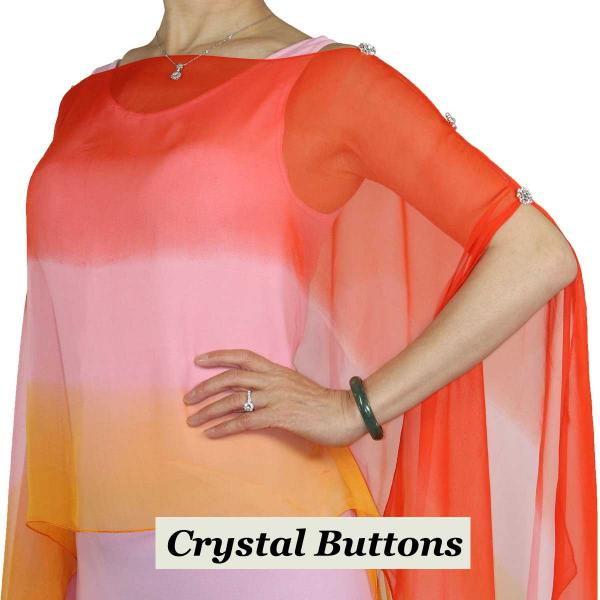 wholesale Silky Button Poncho/Cape (Six Button Chiffon) Crystal Buttons #106 Red-Pink-Orange (Tri-Color)  -