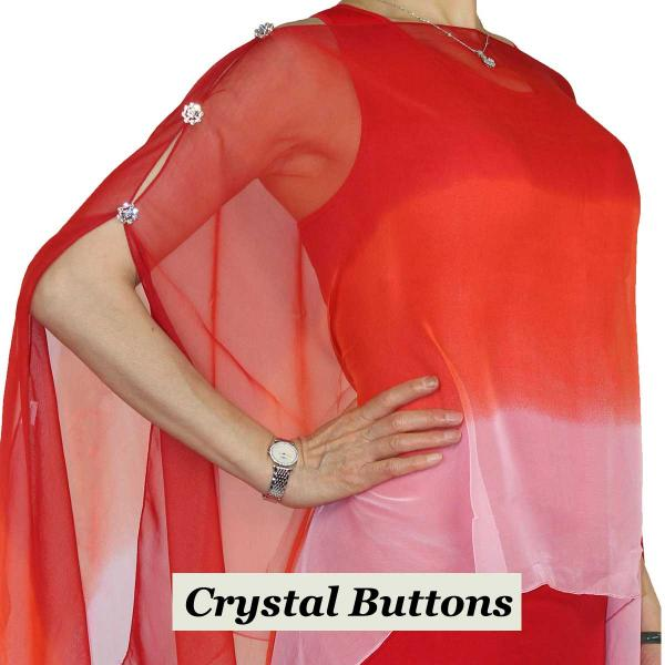 wholesale Silky Button Poncho/Cape (Six Button Chiffon) Crystal Buttons #106 Red-Scarlet-Pink (Tri-Color) -