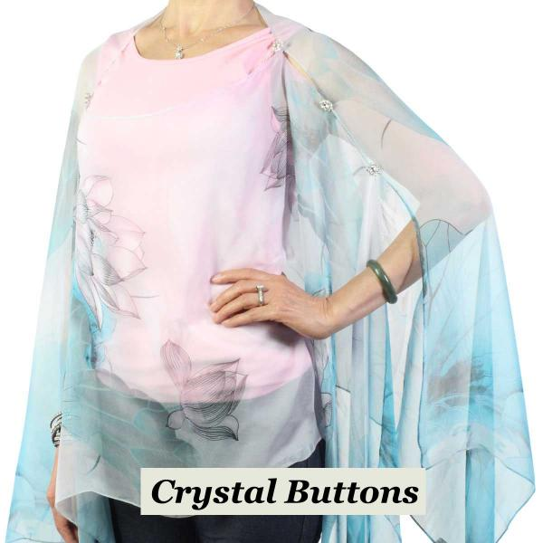 wholesale Silky Button Poncho/Cape (Six Button Chiffon) Crystal Buttons #130 Teal-Pink (Lotus)  -