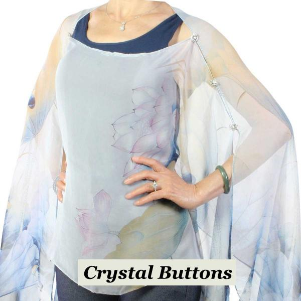 wholesale Silky Button Poncho/Cape (Six Button Chiffon) Crystal Buttons #130 Blue-Pink (Lotus)  -