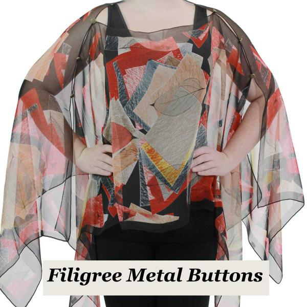 wholesale Silky Button Poncho/Cape (Six Button Chiffon) Filigree Metal Buttons #716 Black-Red (Abstract Oak Leaf) (MB) -