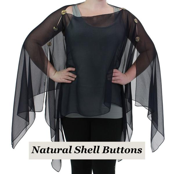 wholesale Silky Button Poncho/Cape (Six Button Chiffon) Natural Shell Buttons Solid Black -
