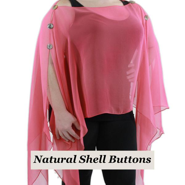 wholesale Silky Button Poncho/Cape (Six Button Chiffon) Natural Shell Buttons Solid Coral  -