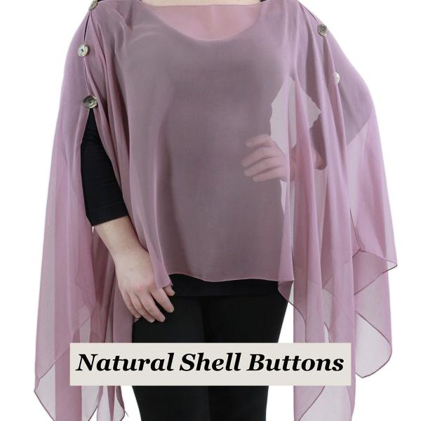 wholesale Silky Button Poncho/Cape (Six Button Chiffon) Natural Shell Buttons Solid Dusty Purple  -