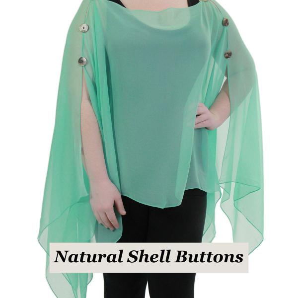 wholesale Silky Button Poncho/Cape (Six Button Chiffon) Natural Shell Buttons Solid Jade  -