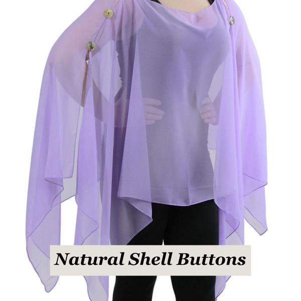 wholesale Silky Button Poncho/Cape (Six Button Chiffon) Natural Shell Buttons Solid Lavender  -