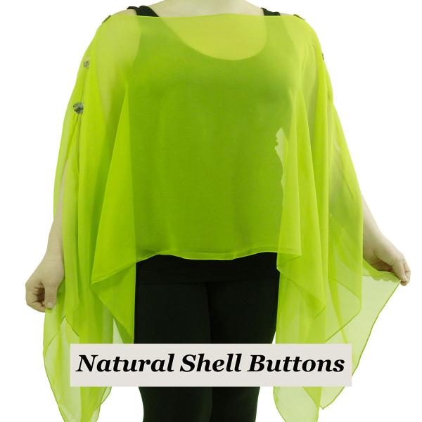 wholesale Silky Button Poncho/Cape (Six Button Chiffon) Natural Shell Buttons Solid Leaf Green  -