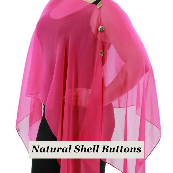 wholesale Silky Button Poncho/Cape (Six Button Chiffon) Natural Shell Buttons Solid Magenta  -