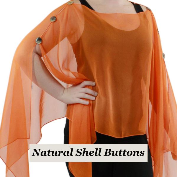 wholesale Silky Button Poncho/Cape (Six Button Chiffon) Natural Shell Buttons Solid Orange (MB) -