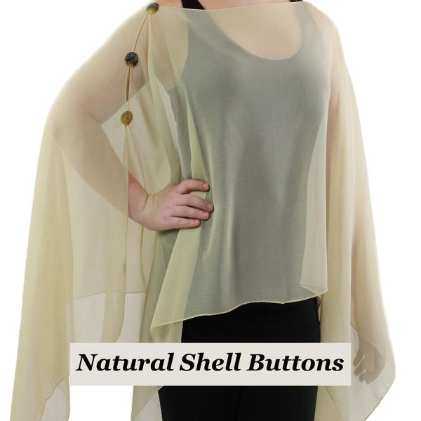 wholesale Silky Button Poncho/Cape (Six Button Chiffon) Natural Shell Buttons Solid Tan  -