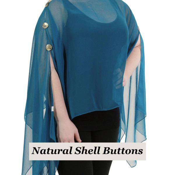 wholesale Silky Button Poncho/Cape (Six Button Chiffon) Natural Shell Buttons Solid Teal  -