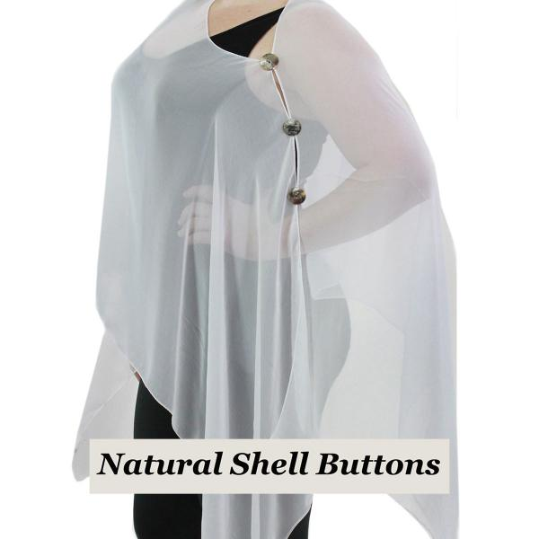 wholesale Silky Button Poncho/Cape (Six Button Chiffon) Natural Shell Buttons Solid White  -