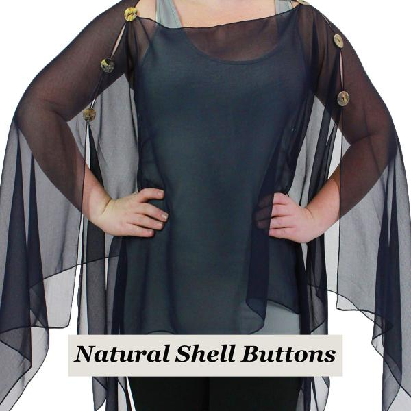 wholesale Silky Button Poncho/Cape (Six Button Chiffon) Natural Shell Buttons Solid Navy  -