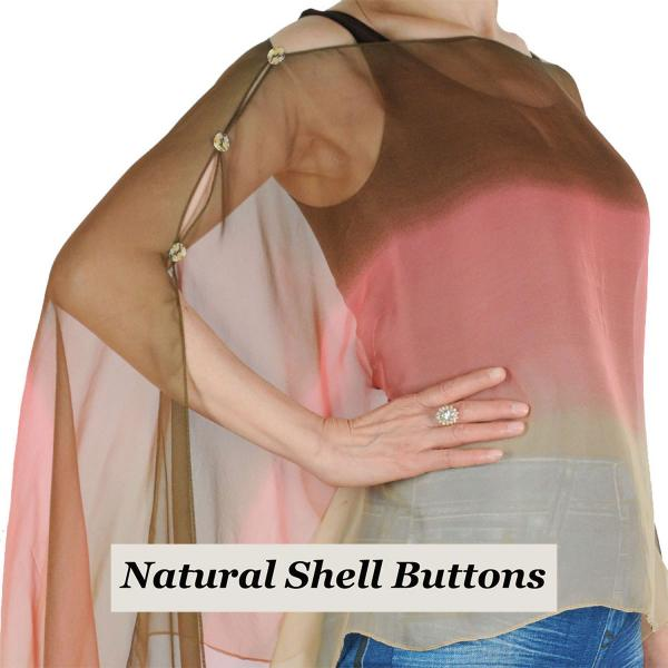 wholesale Silky Button Poncho/Cape (Six Button Chiffon) Natural Shell Buttons #106 Brown-Coral-Tan (Tri-Color)  -