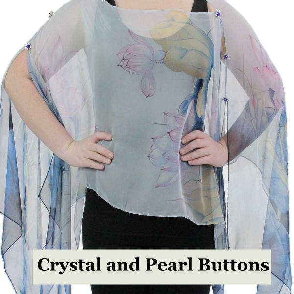 wholesale Silky Button Poncho/Cape (Six Button Chiffon) Crystal with Pearl Buttons #130 Blue-Pink (Lotus)  -