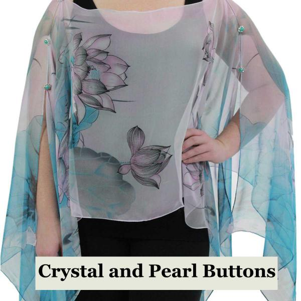 wholesale Silky Button Poncho/Cape (Six Button Chiffon) Crystal with Pearl Buttons #130 Teal-Pink (Lotus) -