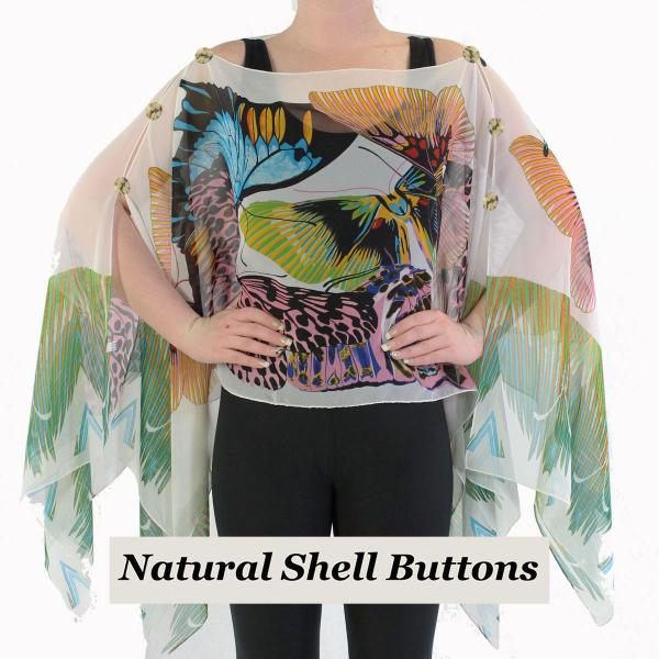 wholesale Silky Button Poncho/Cape (Six Button Chiffon) Natural Shell Buttons #714 White-Multi (Big Butterfly) -