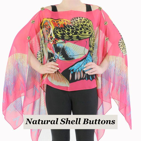 wholesale Silky Button Poncho/Cape (Six Button Chiffon) Natural Shell Buttons #714 Fuchsia (Big Butterfly) -