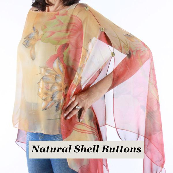 wholesale Silky Button Poncho/Cape (Six Button Chiffon) Natural Shell Buttons #130 Red-Gold (Lotus)  -