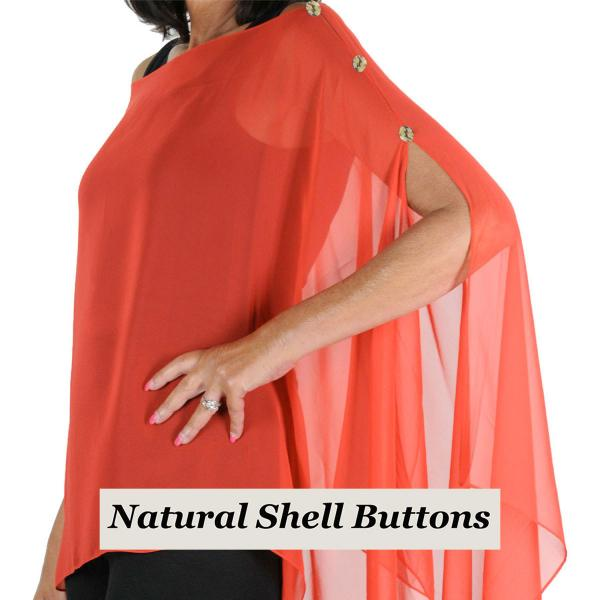 wholesale Silky Button Poncho/Cape (Six Button Chiffon) Natural Shell Buttons Solid Red  -