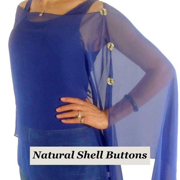 wholesale Silky Button Poncho/Cape (Six Button Chiffon) Natural Shell Buttons Solid Royal  -