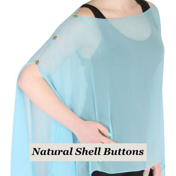 wholesale Silky Button Poncho/Cape (Six Button Chiffon) Natural Shell Buttons Solid Sky Blue -